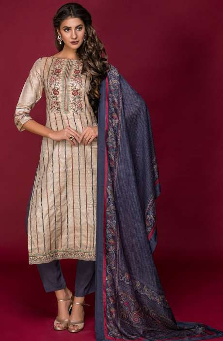 Tussar Silk and Crepe Exclusive Salwar Kameez In Beige & Greyish Blue with Modal Dupatta - DAR2543-R