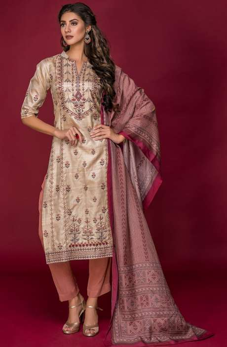 Tussar Silk and Crepe Exclusive Salwar Kameez In Beige & Brown with Modal Dupatta - DAR2544-R