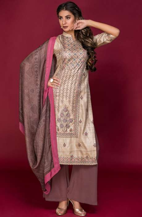 Tussar Silk and Crepe Exclusive Salwar Kameez In Beige & Peach with Modal Dupatta - DAR2546-R