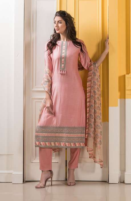 Muslin Silk Exclusive Salwar Suit Set In Peach - DAS5244