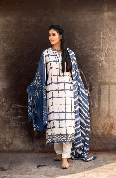 Semi-stitched Exclusive Muslin Silk Trendy Salwar Kameez In Cream & Blue - DEL6010