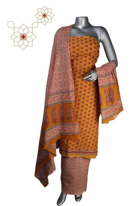 Cotton Printed Unstitched Suit Sets in Mustard - DHAMAKA01AA