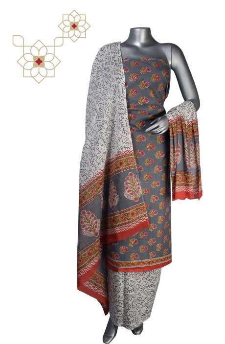 Cotton Floral Printed Unstitched Suit Sets in Grey - DHAMAKA01B