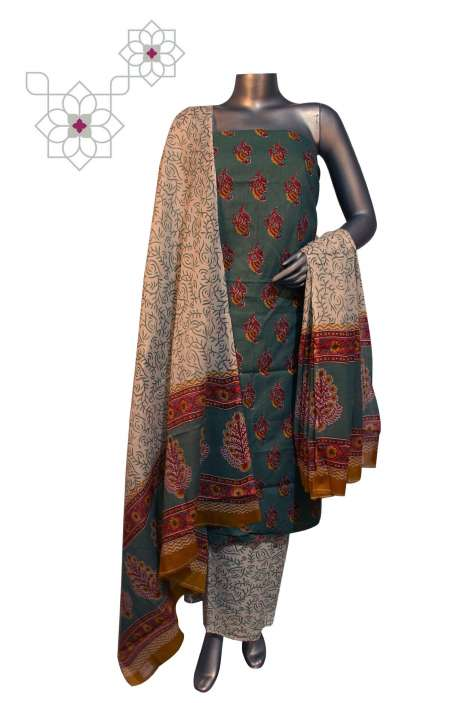Cotton Floral Printed Unstitched Suit Sets in Pastel Grey & Cream - DHAMAKA01BB