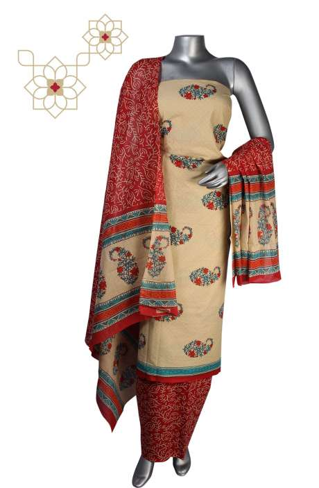 Cotton Floral Printed Unstitched Suit Sets in Beige - DHAMAKA01C