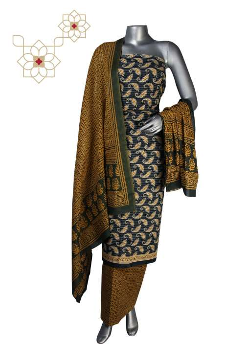 Cotton Printed Unstitched Suit Sets in Multi - DHAMAKA01E
