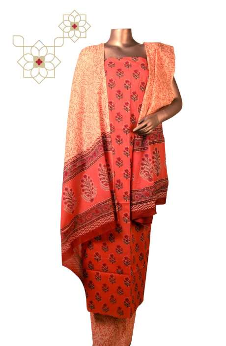 Cotton Floral Printed Unstitched Suit Sets in Coral - DHAMAKAA01B