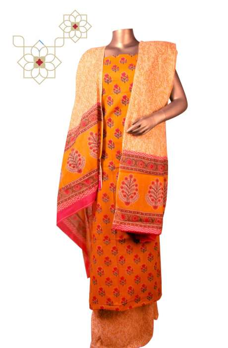 Cotton Floral Printed Unstitched Suit Sets in Mustard - DHAMAKAA01C