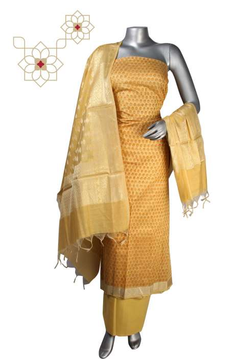 Digital Print Chanderi Cotton Salwar Suit in Yellow with Banarasi Dupatta  - DIPCND7988C
