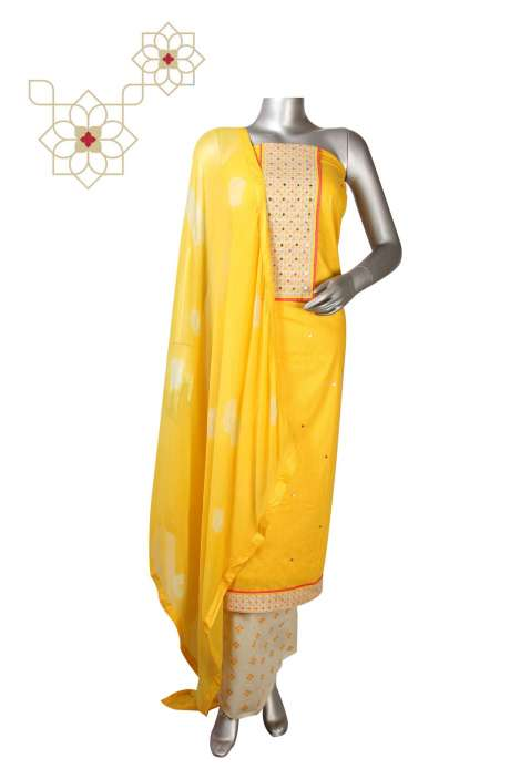Cotton Digital Printed Suit Set In Yellow - DIPCTN8009C