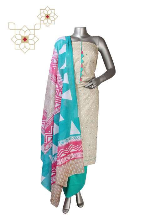 Cotton Digital Printed Suit Set In Beige - DIPCTN8017