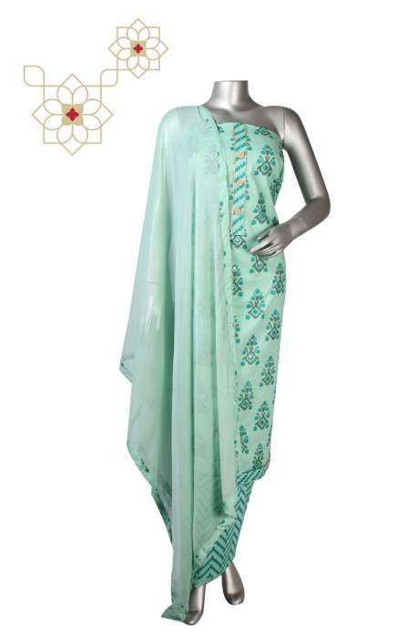 Cotton Digital Printed Suit Set In Green - DIPCTN8018