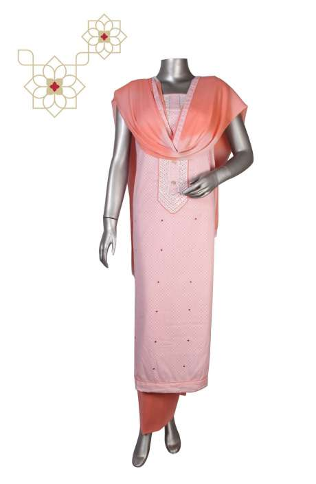 Cotton Unstitched Printed Suit Sets  in Peach & White - DIPCTN8024