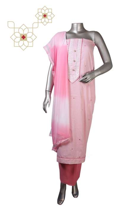 Cotton Unstitched Printed Suit Sets  in Pink & White - DIPCTN8024C