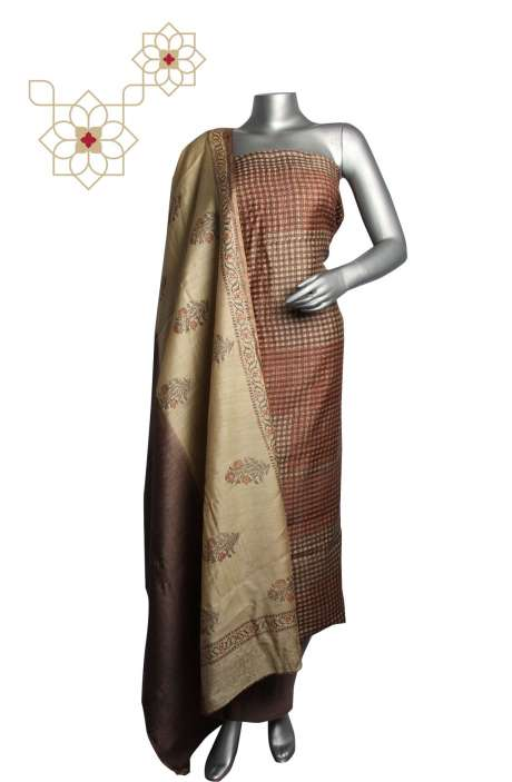 Tussar Silk Multi & Brown Printed Unstitched Salwar Kameez - DIPMUS7638A