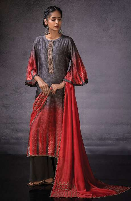 Muslin Silk Beautiful Digital Print with Embroidered Salwar Suit In Grey & Red - DOR1130A