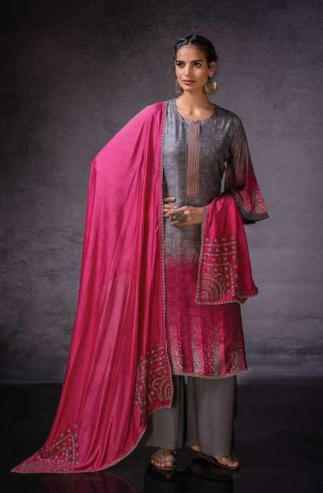 Muslin Silk Beautiful Digital Print with Embroidered Salwar Suit In Grey & Rani Pink - DOR1130B