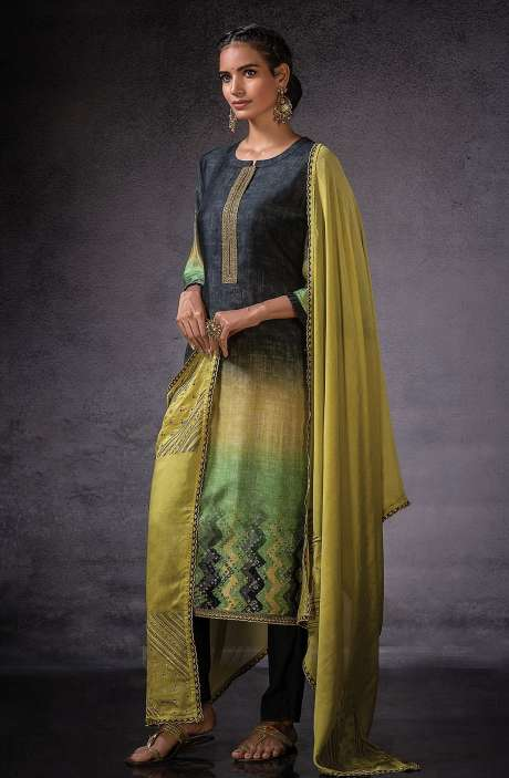 Muslin Silk Beautiful Digital Print with Embroidered Salwar Suit In Black & Mehndi Green - DOR1131B
