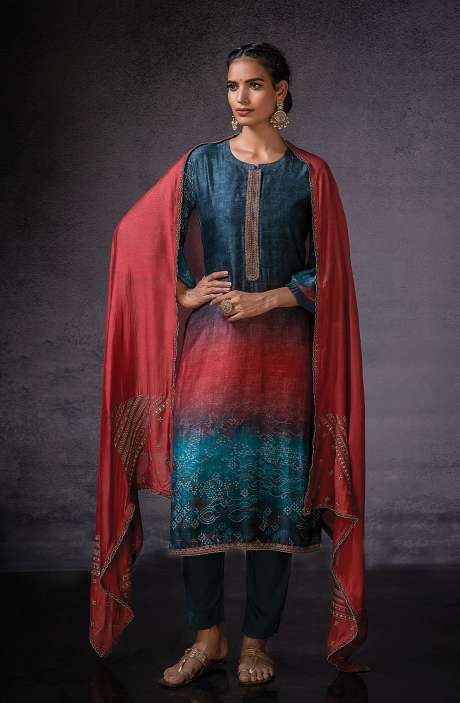 Muslin Silk Beautiful Digital Print with Embroidered Salwar Suit In Peacock Blue - DOR1132B