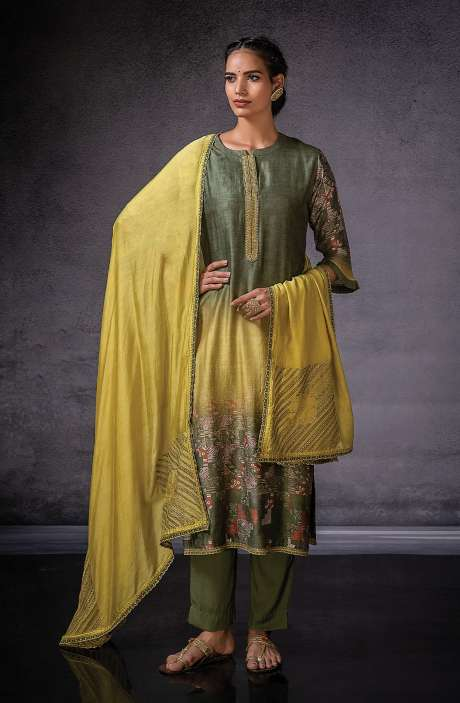 Muslin Silk Beautiful Digital Print with Embroidered Salwar Suit In Green - DOR1133A