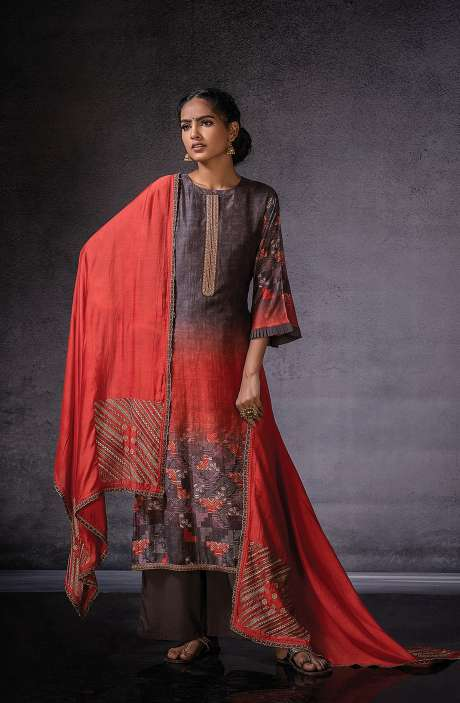 Muslin Silk Beautiful Digital Print with Embroidered Salwar Suit In Chocolate Brown - DOR1133B