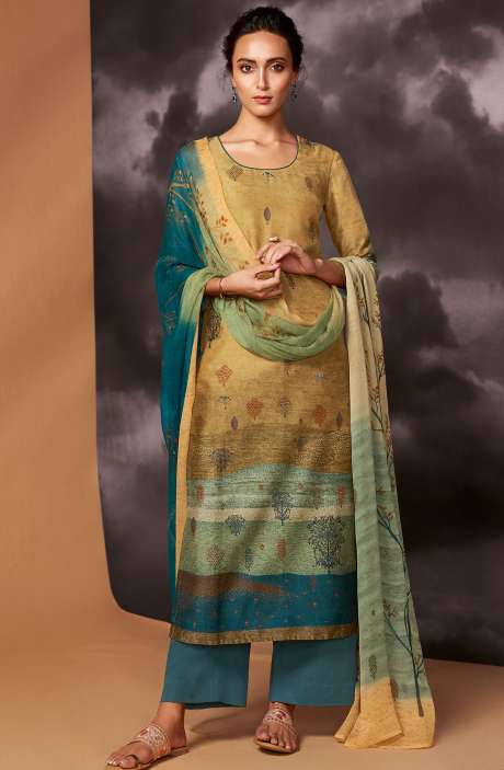 Digital Printed Cotton Silk Unstitched Salwar Kameez In Multi & Bottle Green - DRE8410