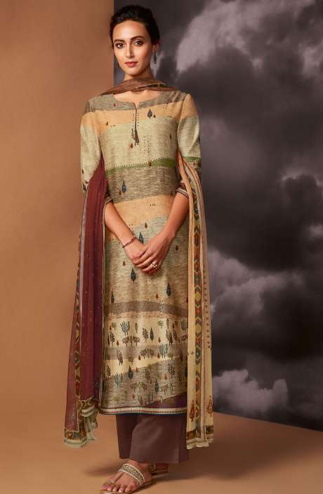 Digital Printed Cotton Silk Unstitched Salwar Kameez In Multi & Coffee Brown - DRE8412