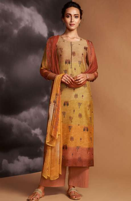 Digital Printed Cotton Silk Unstitched Salwar Kameez In Multi & Rust - DRE8413