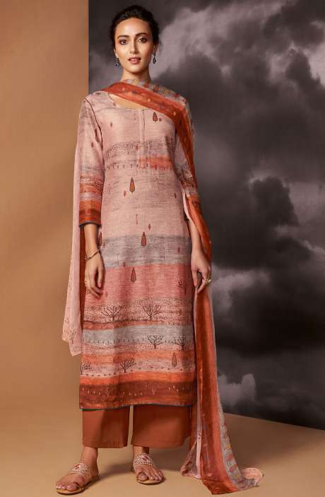 Digital Printed Cotton Silk Unstitched Salwar Suit In Multi & Rust - DRE8414