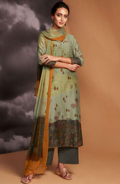 Digital Printed Cotton Silk Unstitched Salwar Kameez In Multi & Olive Green - DRE8415