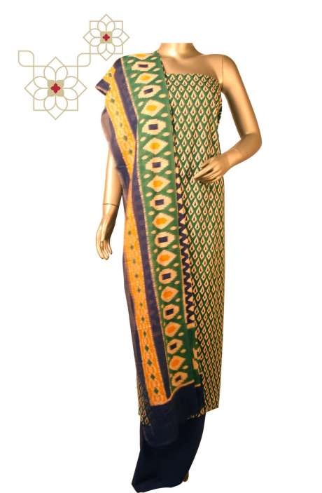 Cotton Printed Unstitched Suit Sets in Multi & Bottle Green - DULHAN01B