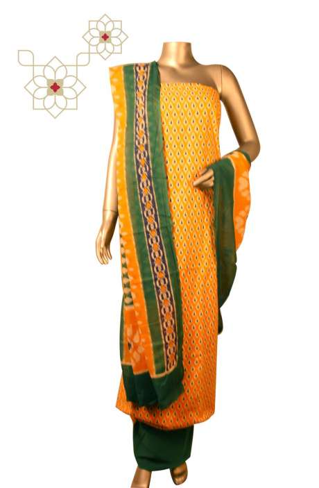 Cotton Printed Unstitched Suit Sets in Multi & Yellow - DULHAN01C