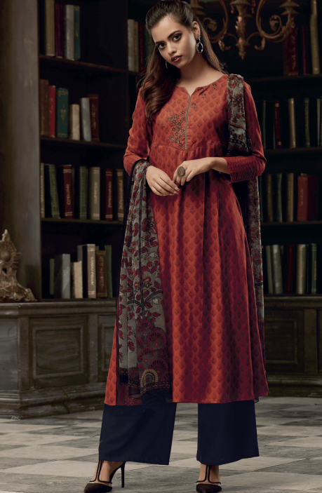 Rust and Black Pashmina Printed Salwar Kameez with Embroidery on Neck - EKA5124