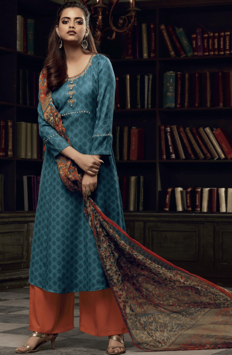 Blue and Orange Pashmina Printed Salwar Kameez with Embroidery on Neck - EKA5125