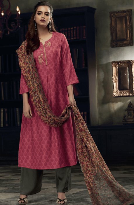 Pink and Green Pashmina Printed Salwar Kameez with Embroidery on Neck - EKA5126