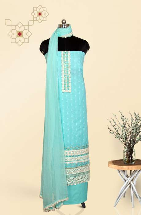 Cotton Jacquard Embroidered Salwar Kameez with Chiffon Dupatta In Turquoise - EMBCOT4078