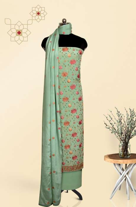 Crepe Beautiful Embroidered Salwar Suit In Sea Green with Chinon Dupatta - EMBCRP1003