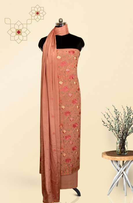 Crepe Beautiful Embroidered Salwar Suit In Rust with Chinon Dupatta - EMBCRP1003B