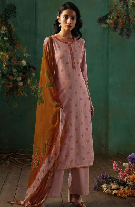 Spun Dobby Printed Light Pink Salwar Suit with Chiffon Dupatta - EME8201