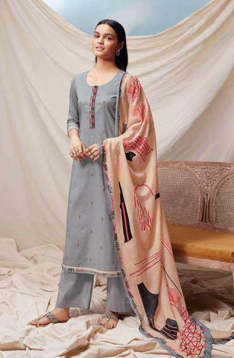 Cotton Printed Salwar Kameez In Grey - EMIS0373D