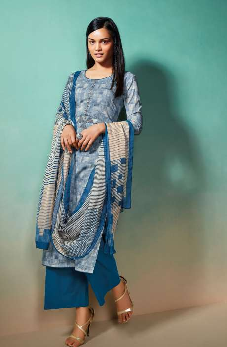 Cotton Printed Salwar Kameez with Chiffon Dupatta - EMIS0376B
