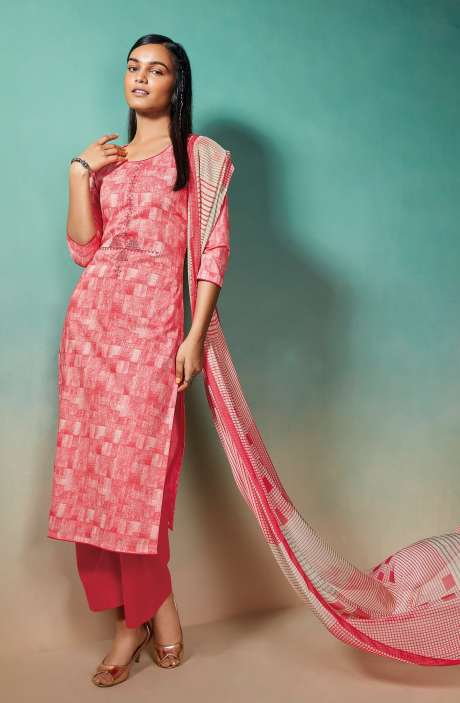 Cotton Printed Salwar Kameez with Chiffon Dupatta - EMIS0376D