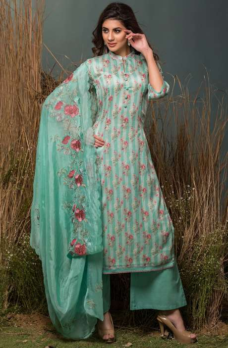 Festive Special Cotton Digital Floral Print with Lace Embroidery Suit Sets In Sea Green - ENG2511R