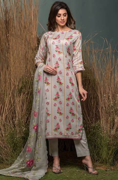 Festive Special Cotton Digital Floral Print with Lace Embroidery Suit Sets In Grey - ENG2512R