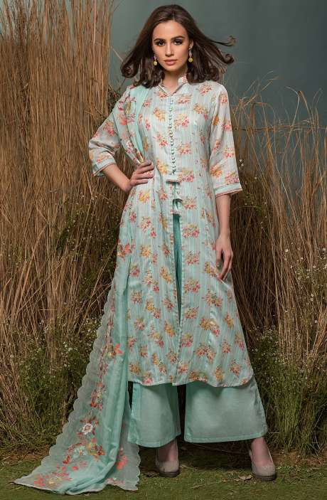 Cotton Beautiful Digital Floral Print with Lace Embroidery Suit Sets In Turquoise - ENG2513