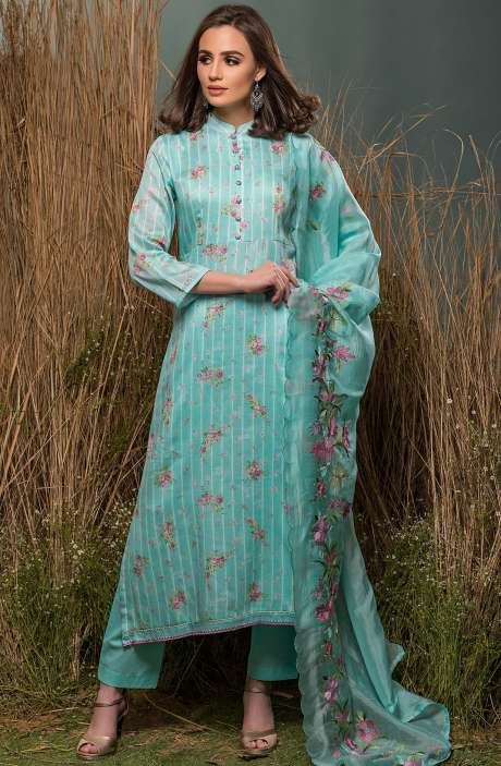 Cotton Beautiful Digital Floral Print with Lace Embroidery Suit Sets In Mint Green - ENG2514