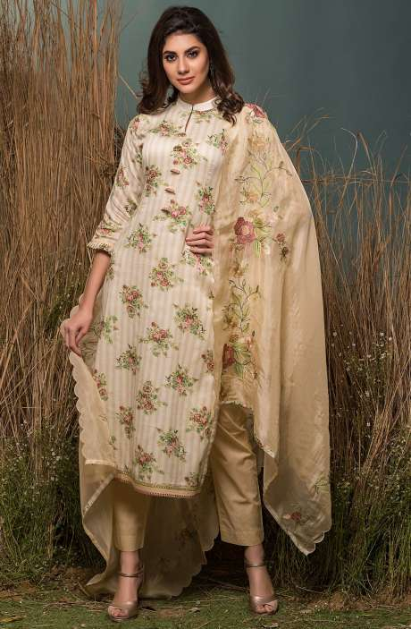 Festive Special Cotton Digital Floral Print with Lace Embroidery Suit Sets In Cream & Golden - ENG2516R