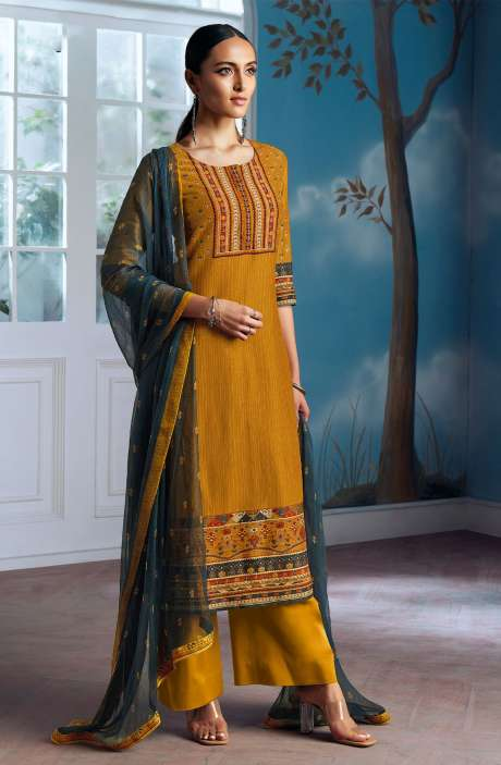 Modal Silk Digital Printed Salwar Suit In Mustard Yellow with Chiffon Dupatta - ENIC0073