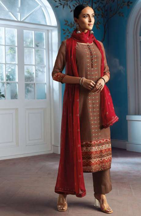 Modal Silk Digital Printed Salwar Suit In Brown with Chiffon Dupatta - ENIC0076