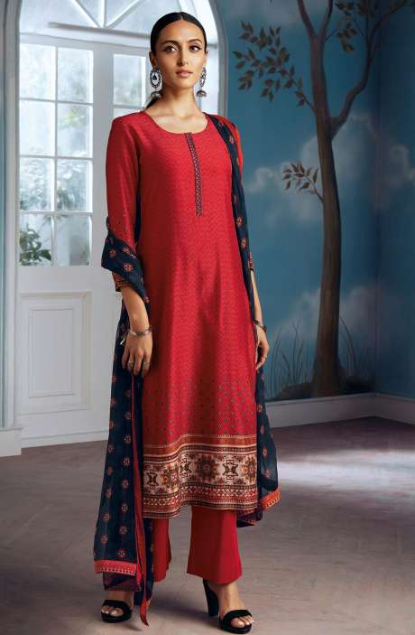 Modal Silk Digital Printed Salwar Suit In Red with Chiffon Dupatta - ENIC0077